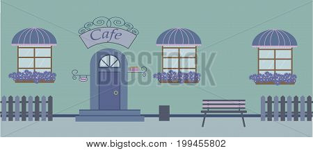 Pretty scenery in a rustic style. A cafe, three windows with a striped awnings, door, stairs, flowers.A cute bench. A fence. Vector illustration