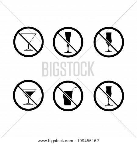 No alcohol drinks set. Silhouette black wineglass in black circle. Sign on white background. Label notice no do wine. Symbol forbidden beverage. Mark warning. Flat vector image. Vector illustration