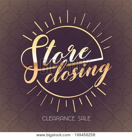 Store closing vector banner, illustration. Template design element or flyer for clearance sale
