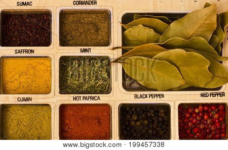 Spices, kitchen herbs and flavoring. Bright and fresh