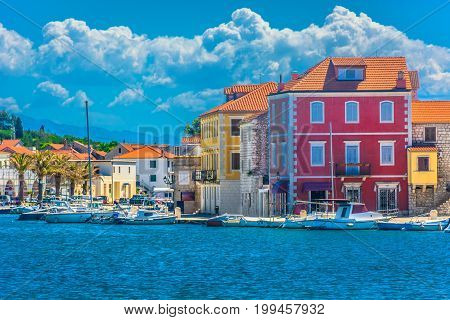 Seafront view at mediterranean town Starigrad, famous travel harbor on island Hvar, Croatia.