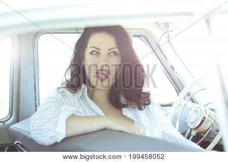 Girl In A Retro Car