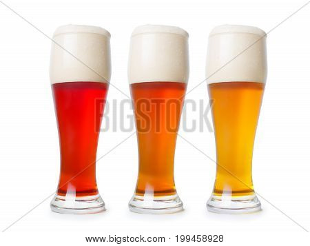 Three Different Beer Pint. On White With Clipping Path
