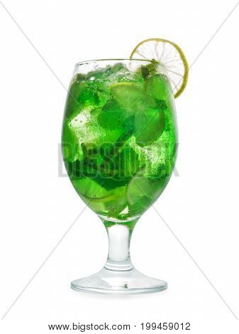 Mojito Cocktail With Lime And Mint. Isolated With Clipping Path