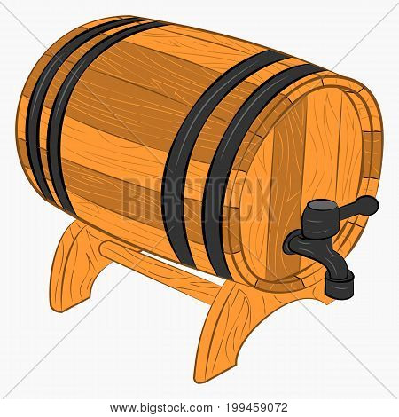 Wooden barrel of beer with a tap cartoon icon