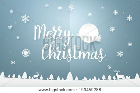 Merry Christmas and Happy new year. Merry Christmas lettering with Santa Claus flying over Christmas trees background. Paper art and origami style design