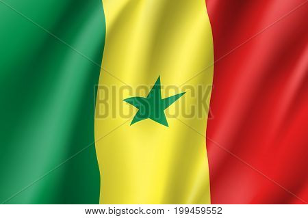 Senegal flag. National patriotic symbol in official country colors. Illustration of Africa state waving flag. Realistic vector icon