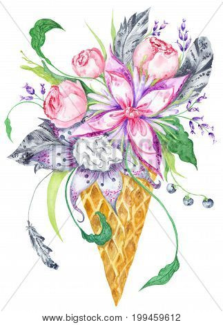 Tender romantic creative print painting with boho style feathers and peonies on white background
