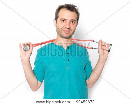 Relaxed Surgeon Holding Stethoscope Isolated  Background