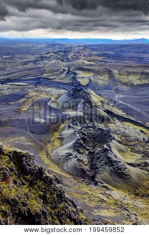 Lakagigar Volcanic Craters Chain Landscape View, Iceland