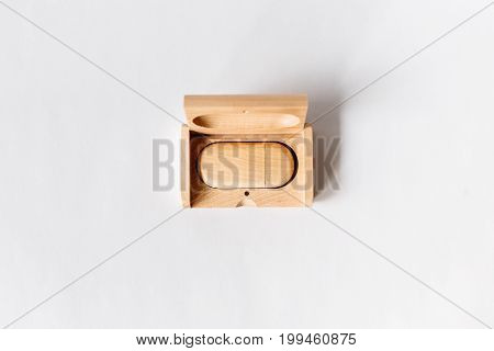 Small Packaging For Usb-drive From Light Wood. Wooden Box With Usb-storage For A Photographer, On A