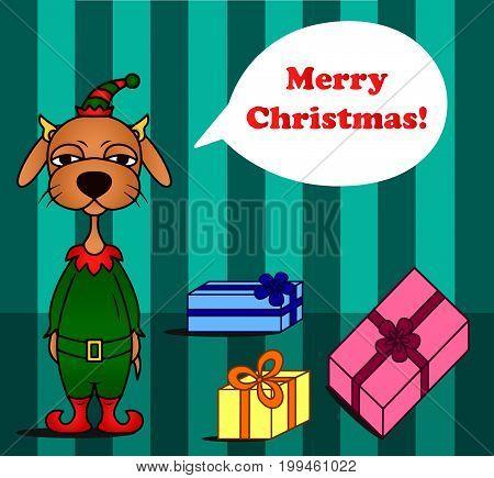 Sad Christmas dog vector elf greeting cards colored illustration sketch