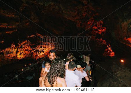 There are a lot of visitors in Damlatas Cave  in July 2017 (Alanya, Turkey).