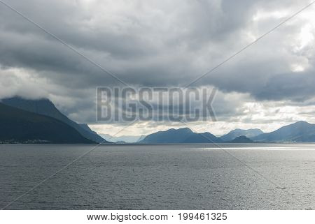 Norwegian west coast in clouds in summer