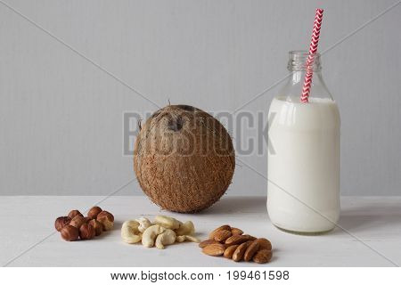 Variants Of Raw Vegan Milk From Different Nuts