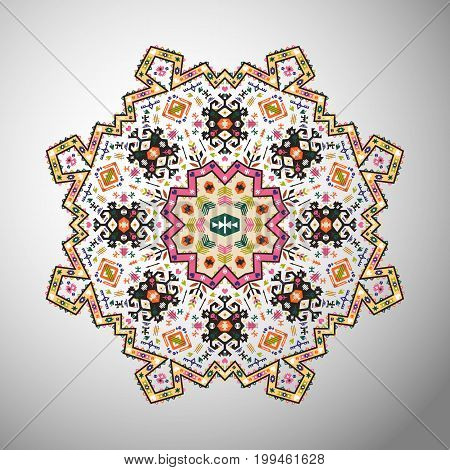 Ornamental round brightgeometric pattern in aztec style