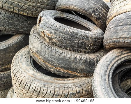 Stack Of Damaged Tires flat pneus for waste