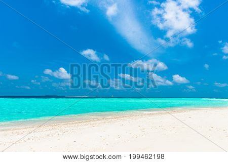 Picture from a sandbank close to Maafushi in Maldives of amazing colorful water.