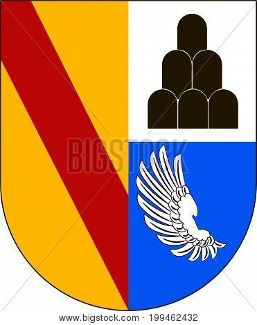 Coat of arms of Emmendingen is a district in the west of Baden-Wurttemberg Germany. Vector illustration from the