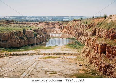 Big open cast mining quarry, Construction industry, Extraction of mineral ore