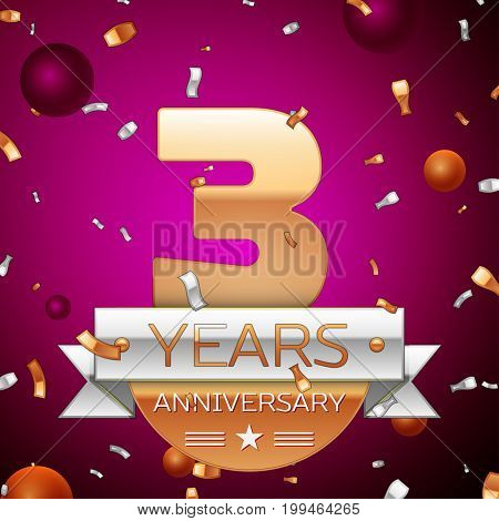 Realistic Three Years Anniversary Celebration Design. Golden numbers and silver ribbon, confetti on purple background. Colorful Vector template elements for your birthday party