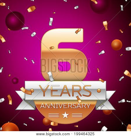 Realistic Six Years Anniversary Celebration Design. Golden numbers and silver ribbon, confetti on purple background. Colorful Vector template elements for your birthday party