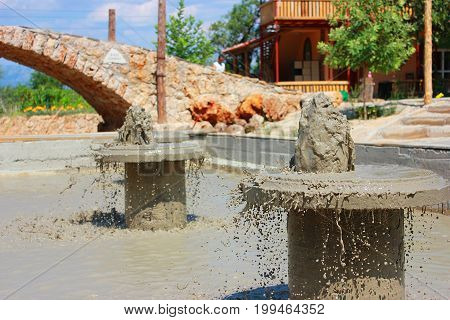 Therapeutic mud, mud pool in Antalya Turkey