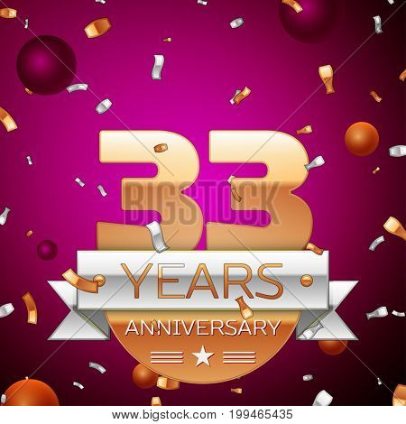Realistic Thirty three Years Anniversary Celebration Design. Golden numbers and silver ribbon, confetti on purple background. Colorful Vector template elements for your birthday party