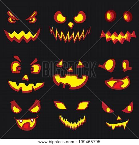 Halloween Design Elements. Scary Pumpkin Faces.