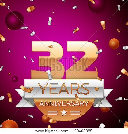 Realistic Thirty two Years Anniversary Celebration Design. Golden numbers and silver ribbon, confetti on purple background. Colorful Vector template elements for your birthday party