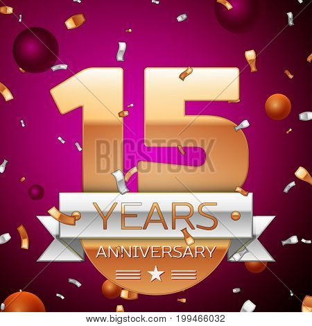 Realistic Fifteen Years Anniversary Celebration Design. Golden numbers and silver ribbon, confetti on purple background. Colorful Vector template elements for your birthday party