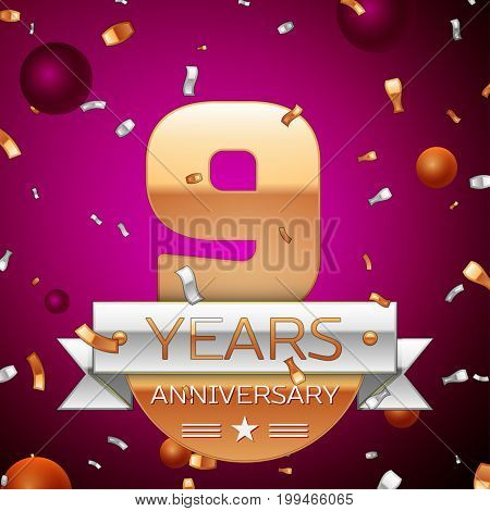 Realistic Nine Years Anniversary Celebration Design. Golden numbers and silver ribbon, confetti on purple background. Colorful Vector template elements for your birthday party