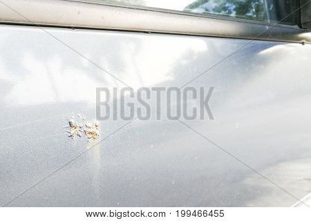 Car With Corroded Rust Stain On Door
