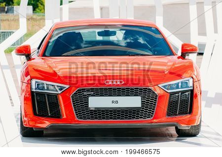 Red Car Audi R-8. Russia, Moscow. 19 July 2017