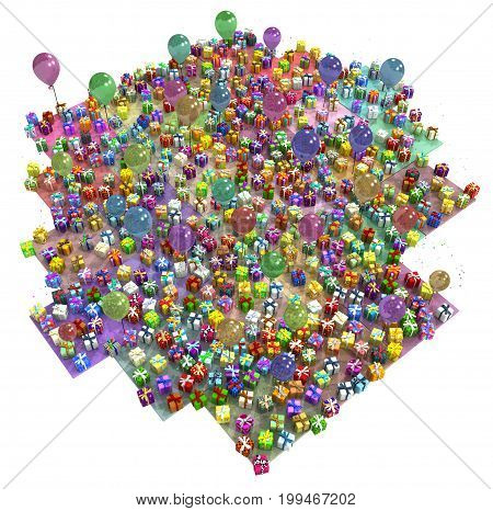 Gift large group party 3d illustration colorful vertical isolated over white