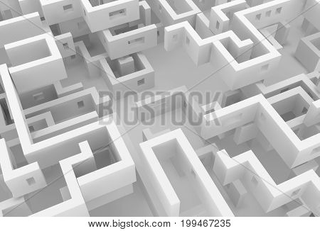 White wall labyrinth maze empty space abstract 3d illustration horizontal