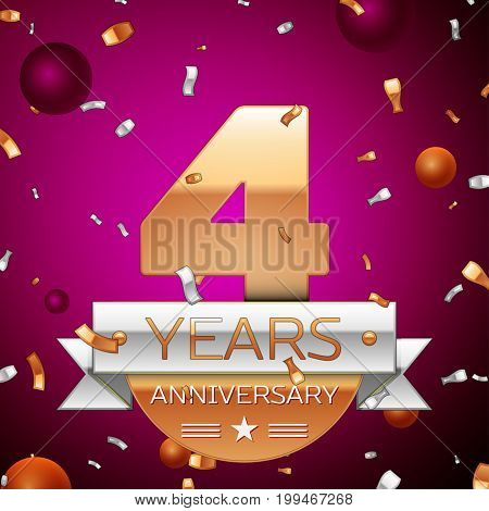 Realistic Four Years Anniversary Celebration Design. Golden numbers and silver ribbon, confetti on purple background. Colorful Vector template elements for your birthday party