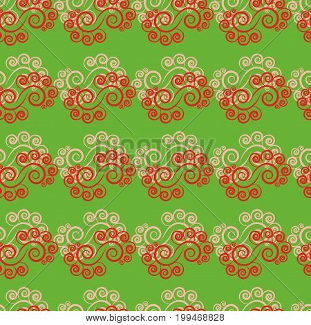 Twig of spiral on green background. Fashion graphic background design. Modern stylish abstract texture. Colorful template for prints textiles wrapping wallpaper. Design element. Vector illustration