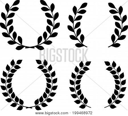 Set of 4 vector isolated laurel and olive wreaths