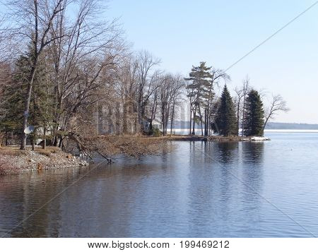 Early spring from the shore of a small bay looking towards big lake
