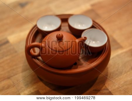 Ancient Chinese tea set. teapot and teacup.