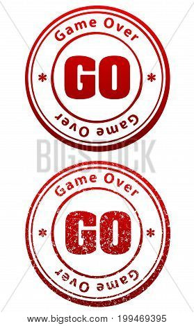Pair of red rubber stamps in grunge and solid style with caption Game Over and abbreviation GO