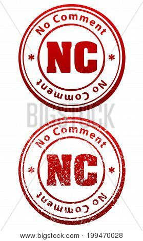 Pair of red rubber stamps in grunge and solid style with caption No Comment and abbreviation NC