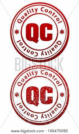 Pair Of Red Rubber Stamps In Grunge And Solid Style With Caption Quality Control And Abbreviation Qc