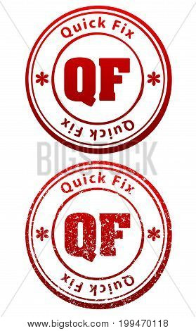 Pair of red rubber stamps in grunge and solid style with caption Quick Fix and abbreviation QF