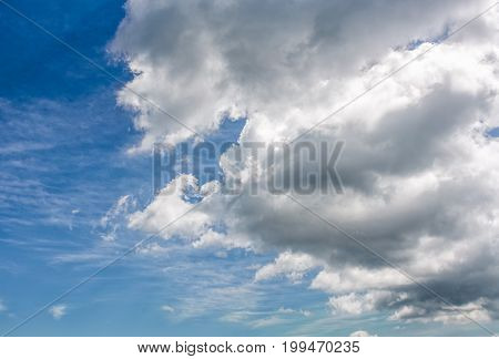 Heavy Grey Cloud On A Blue Summer Sky