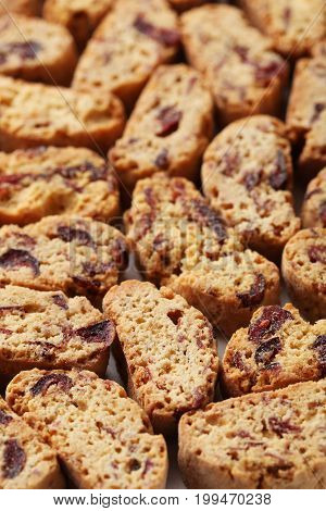 Heap of the sweet cantuccini cookies background