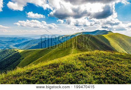 Lovely Green Grassy Hills Of Mountain Ridge