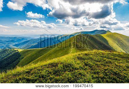 Lovely Green Grassy Hills Of Mountain Ridge