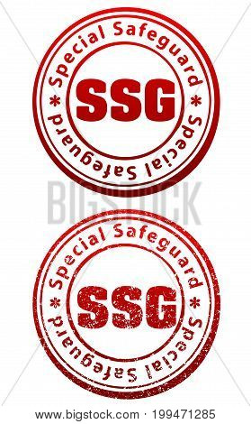 Pair Of Red Rubber Stamps In Grunge And Solid Style With Caption Special Safeguard And Abbreviation